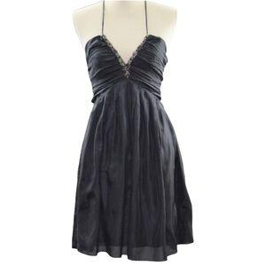 Haven 100% Silk Black Dress Jewel Embellished S